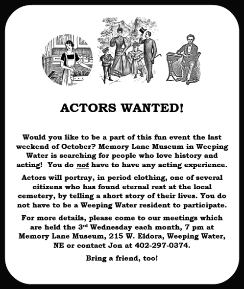 2018-04-25 WW_Memory_Lane_actors_wanted