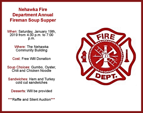 2019 01 16 Nehawka Fire Soup Supper Flier