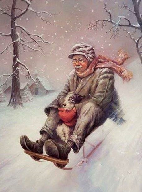 Man and dog on sled 495