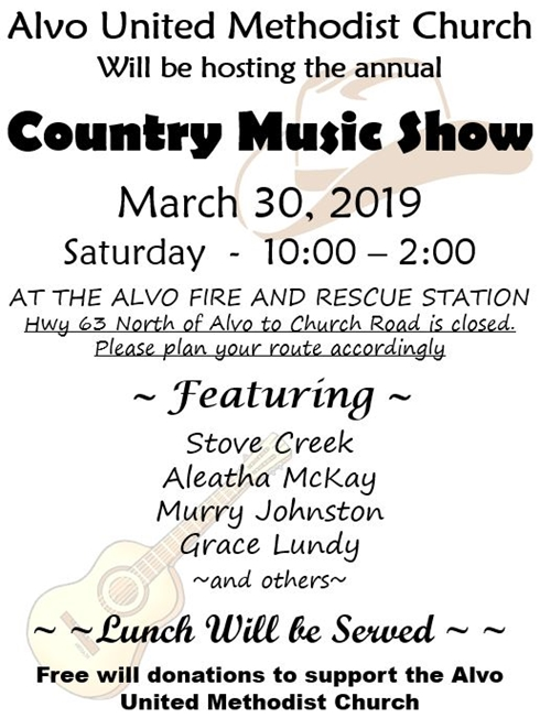 Alvo Country Music Show Flier 490